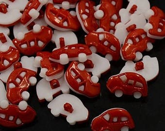 set of 20 buttons 17 mm sewing notions scrap 9 shank red car