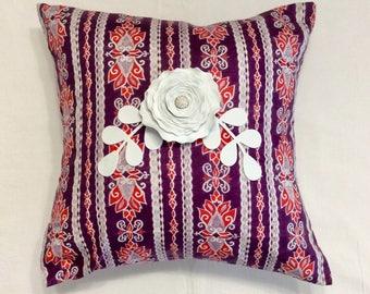 "Decorative pillow cover / 40x40 cm ( 16""x16"") / white rose/ home decoration"