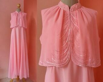 Pink Maxi Dress 70s Prom Dress Vintage Evening Dress Womens Dresses 1970s Party Dress High Collar Sequin Chiffon Long Dress Sleeveless XL