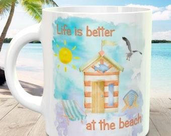 Beach Themed 11oz Ceramic Mug - Limited Edition 2018 Watercolour Design