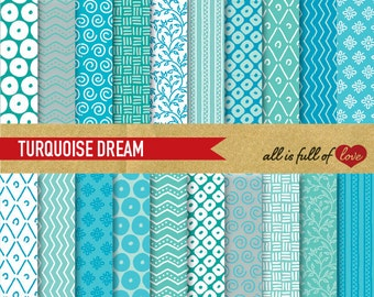 Turquoise Blue paper, digital papers, commercial use, scrapbook papers Hand draw background turquoise chevron digital graphics