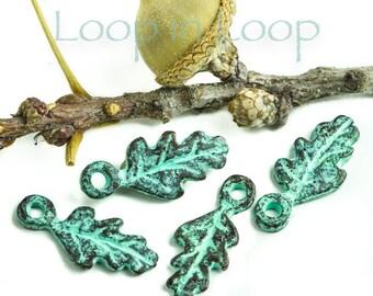 25%OFF 4 Green Patina tiny leaf charm 18mm Greek Mykonos beads Woodland Rustic flat metal leaves charms, copper boho patina