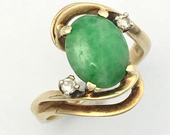 Vintage 14CT Gold Diamond and Jade Bypass Ring