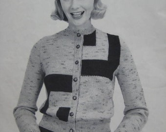 Knit Cardigan Sweater Pattern PDF, 1950's Vintage Pattern - Women's Knitted Cardigan 5051