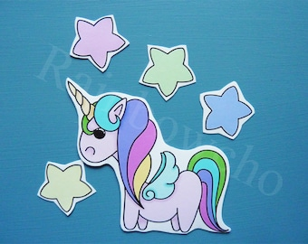 "Sticker: ""Unicorn and its small star"""