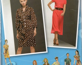 Overstock Sale Simplicity Project Runway Pattern 2923 FRONT BUTTONED DRESS with Variations Misses Sizes 16 18 20 22 24