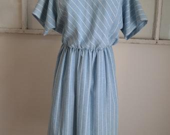 Vintage 1980s R & K Clothing Sky Blue with White Stripes Dress