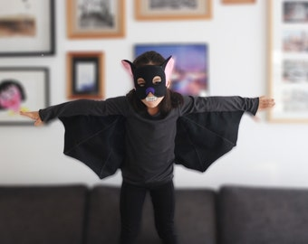 Kids bat costume, kids tshirt, bat mask, bat wings, bat costume boy, bat costume girl, bat kit, toys and gifts, bat dress up set, gift idea
