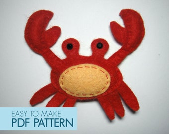 Easy to sew felt PDF pattern. DIY Walter the Crab, ornament softie.