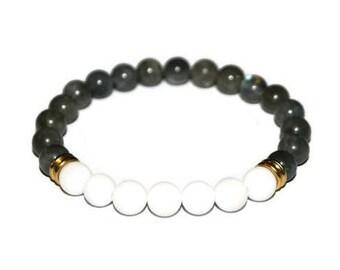 Labradorite Bracelet Mens Bracelet Mens Grey Bracelet Men Mala Bracelet Bracelet Homme Healing Stone Mala Boho Men Bracelet Balance Bracelet