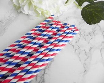 Blue White Red Striped Paper Straws-Wedding Straws-Police Birthday Party-Striped Paper Straws- Shower Straws