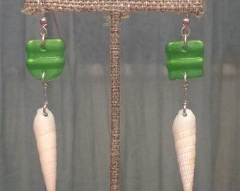 Sea glass & sea shell earrings