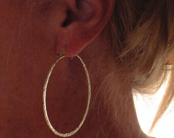 Hammered Large Sterling Silver Hoop Earrings, Thick Hoops, Handmade Wire Earrings, Boho Hoop Earrings, Brutalist Earrings, Rustic Jewelry
