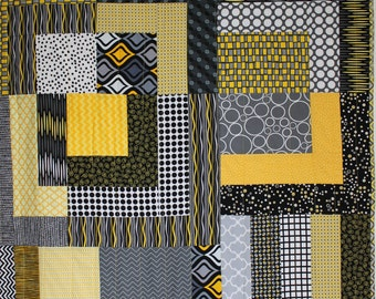 """Modern Baby Quilt; """"Rachel""""; Modern Quilt; Geometric; Gender Neutral; Yellow; Gray; Baby Gift; Lap Quilt, Play Mat, Wall Art"""