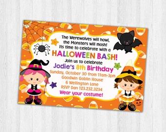 Halloween Birthday Party Invite, Printable Halloween Party invitation, Birthday Party Invitation