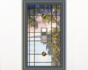 0482x - Oyster Bay Stained Glass (faux) - mrs butler switch plate covers -