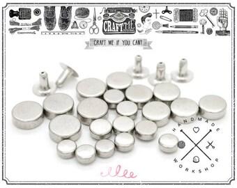 100pcs Multi-size Silver Tone Flat Head Tablet Single Cap Rapid Rivets Studs Decorative Leathercraft