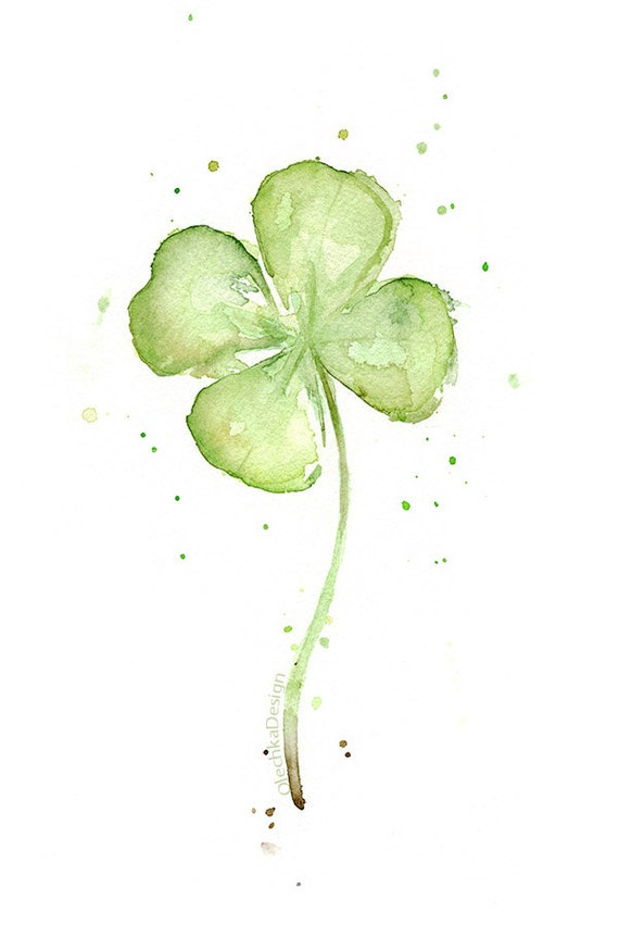 Four Leaf Clover Art Print Of Watercolor Painting Plants St