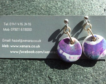 Ideal Mother's Day Gift - Post earrings - Batik look- Polymer clay earrings