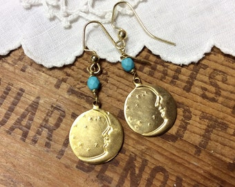 Moon and Stars Earrings celestial earrings brass earrings crescent moon earrings bohemian jewelry