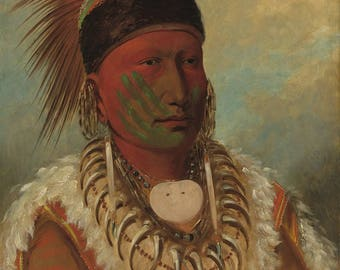 George Catlin : The White Cloud, Head Chief of the Iowas (1844-45) Canvas Gallery Wrapped Wall Art Print
