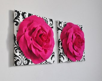 Fuchsia and Black White Damask Home Decor, Hot Pink and Black White Wall Panels, Rose Wall Set of Two, Hot Pink and Black Home Decor Nursery
