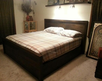 Reclaimed Platform Bed with Headboard Footboard and 2 Drawers