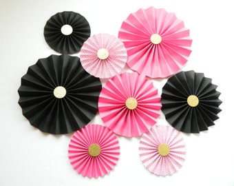 Pink and Gold Party Fans Pink and Gold Rosette Pink and Gold