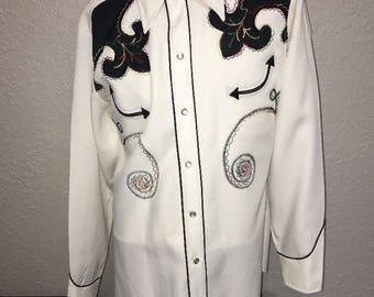 Vintage 1950's White & Black Western Pearl Snap Shirt by H BAR C