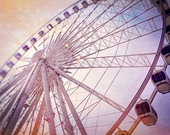 wall art, home decor, ferris wheel print, observation wheel, carnival, seaside fair, children's room, nursery decor - BIG WHEEL