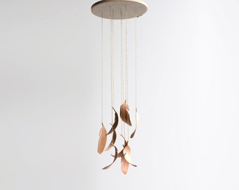 Wood Feather Mobile  -  Sculpted Wood Home Decor - Nursery Decor - Hanging Mobile