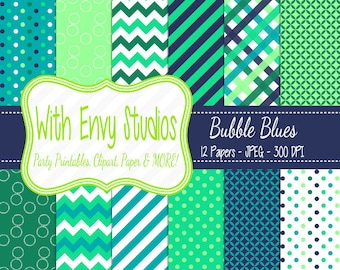 SALE   Blue and Green Digital Scrapbook Paper Pack - Turquoise and Mint Digital Paper Pack - Patterned Paper - Commercial Use