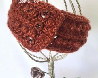 Handmade Headband Earwarmer Crochet Aran Copper Bronze Fisherman Nordic Chunky Ear Warmer Head Band Messy Bun Ponytail Wrap