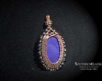 """Handmade Copper Wire Wrapped Pendant - Beautiful Purple Agate Stone- on 25"""" Copper Plated Brass Chain - Purple Irridescent Bead Surrounds"""