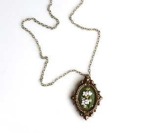 Lil Queen Anne's Lace- hand embroidered necklace, tiny, miniature, yellow, white, floral, delicate