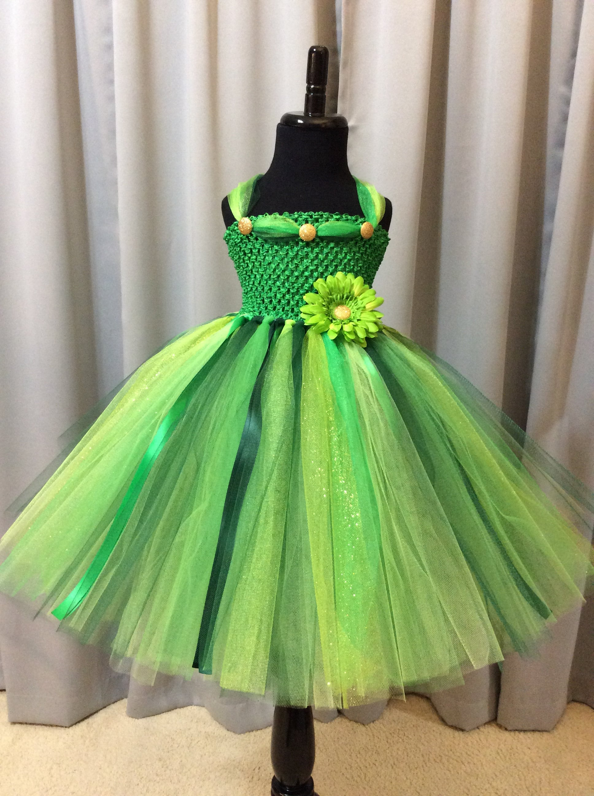 Tinkerbell fairy tutu dress w/crown, wand, wings; birthday outfit ...