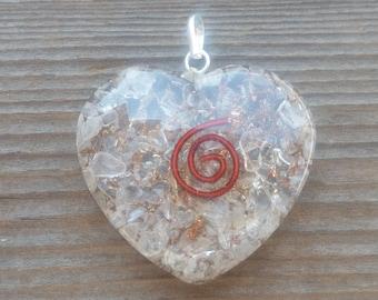 ORGONE CLEAR QUARTZ Gemstone Heart Shaped Pendant Orgone (One)