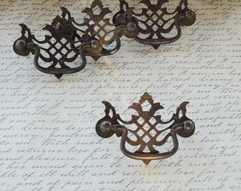 Antique Metal Drawer Pulls Set of 4 Handles Decorative Knobs, Cabinet Knobs, Furniture Restoration, Home Improvement