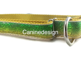 St. Patrick's Dog Collar, Green Glitter, 1 inch wide, adjustable, quick release, metal buckle, chain, martingale, hybrid, nylon