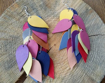 Very long leather earrings, Colourful earrings, genuine leather earrings, Long boho earrings, Statement earrings, Layered earrings