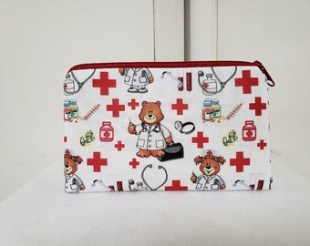 Zipper Pouch, Small First Aide Case, First Aid Bag, Medical Gadget Pouch, Nurse Pouch, Gift for Nurses, Medical Pencil Bag, Nylon Liner.
