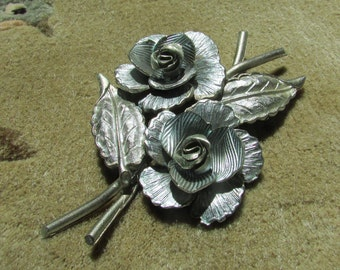 Laurie  Rare Coro Roses and Leaves Flower Silver Enamel Brooch