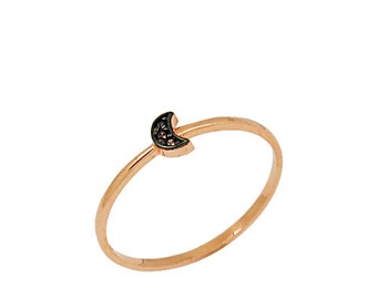 Moon 14k Solid Gold Ring Stack Ring Rose Gold Yellow Gold Options Best Price