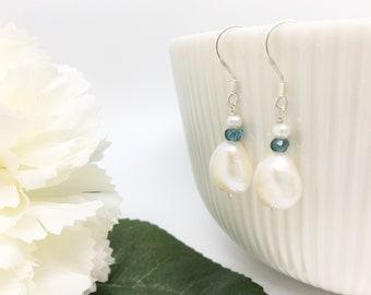 Silver Pearl Topaz Drop, Real Freshwater Pearl Earrings, Something Blue, Topaz, Bridal Earrings, Bridesmaid, Pearl Wedding Earrings