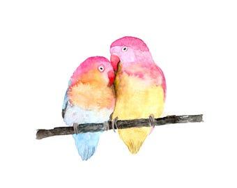 Loving Birds Print, Watercolour Lovebirds, Birds in Love Art, Valentines Day Art Print, Wedding Art, Happy Anniversary Art, Watercolour