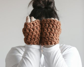 Chunky Wrist Warmers Fingerless Gloves   THE SNUGGS in Butterscotch