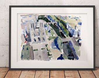 FRAMED Paris Watercolor Print Notre Dame Wall Art Giclee print