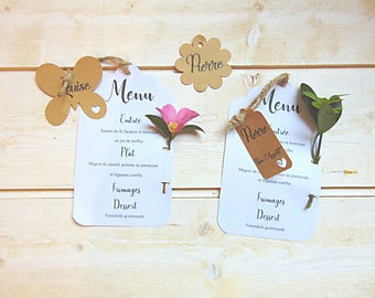 Wedding menu in white cardstock and label kraft - kraft by Pleasant Home wedding table Decoration