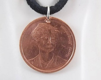 Greek Coin Necklace, 2 Drachmes, Coin Pendant, Mens Necklace, Womens Necklace, Leather Cord, Birth Year, 1988