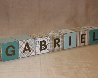 Handmade personalized wood blocks,baby wooden blocks ,vintage wood blocks,toy baby blocks